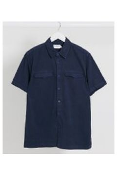 Topman - Camicia in twill a maniche corte blu navy slavato(120275207)