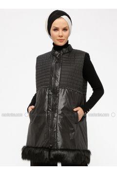 Black - Fully Lined - Polo neck - Vest - Miorespiro(110335500)