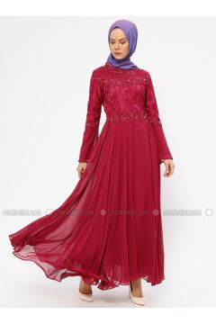 Cherry - Fully Lined - Crew neck - Muslim Evening Dress - BÜRÜN(110314484)
