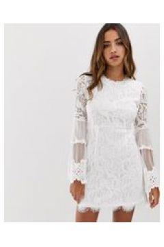 Forever U - Vestitino bianco in pizzo con maniche a campana(124801554)