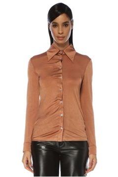 Dodo Bar Or Kadın Peppie Kahverengi Büzgü Detaylı Gömlek 40 IT(119423066)