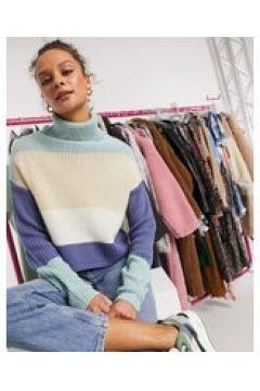 In The Style Plus x Billie Faiers - Maglione corto in maglia a righe blu multi-Multicolore(123528061)