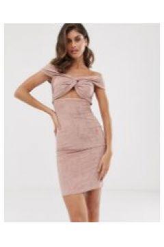 The Girlcode - Zartrosa Kleid aus Wildlederimitat mit Carmenausschnitt und Knoten - Rosa(92368930)