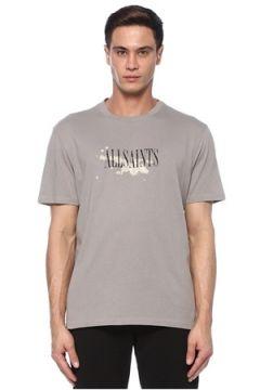Allsaints Erkek Bleach Splash Gri Logo Baskılı T-shirt S EU(118214542)