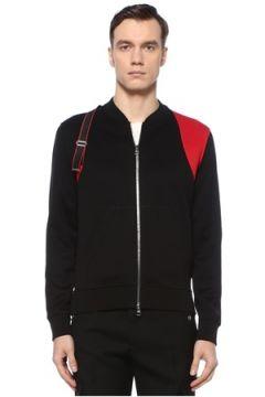 Alexander McQueen Erkek Siyah Kırmızı Dik Yaka Şerit Detaylı Mont M EU(126848041)