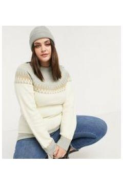 Fashion Union Plus - Maglione comodo con motivo Fair Isle-Grigio(122685259)