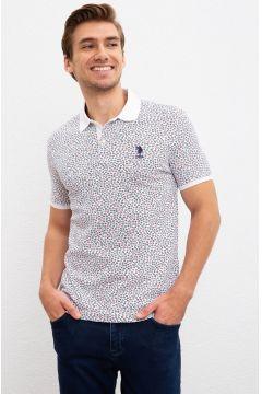 U.S. Polo Assn. Polo Yaka Çiçek Desenli Beyaz T-Shirt(113991128)