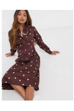 People Tree - Vestito camicia lungo in cotone organico con stampa a pois-Marrone(122286237)