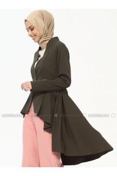 Khaki - Unlined - V neck Collar - Jacket - Tuana(110336660)
