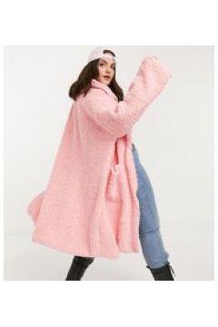 Daisy Street Plus - Cappotto lungo oversize in pelliccia effetto peluche-Rosa(122966577)