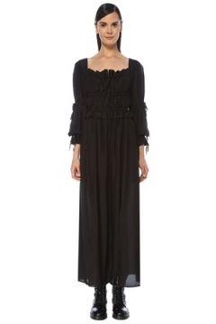 Allsaints Kadın Kimi Siyah Kare Yaka Büzgülü Midi Elbise 2 US(118060075)