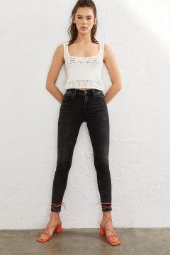 Skinny-Jeans mit tiefem Bund Dunkelgrau(113907761)