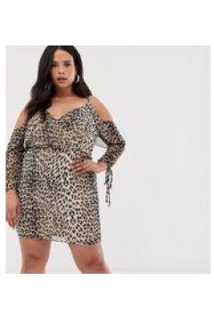 Koko - Vestito a portafoglio con stampa leopardata e spalle scoperte-Multicolore(120330067)