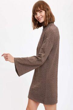 DeFacto Kadın Oversize Dik Yaka Uzun Kollu Elbise(125933568)