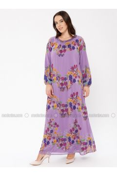 Lilac - Multi - Fully Lined - Crew neck - Plus Size Dress - Le Mirage(110338929)