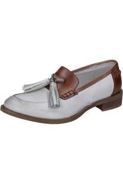 Chaussures Crown mocassins blanc cuir marron BZ935(115399265)
