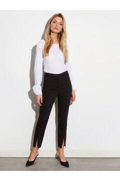 Kadın Paçaları Yırtmaçlı Bilek Boy Slim Kumaş Pantolon(110908162)