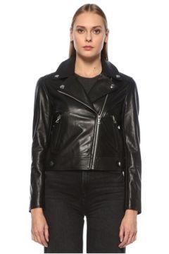 Yves Salomon Kadın Siyah Kruvaze Deri Ceket 36 FR(123840943)