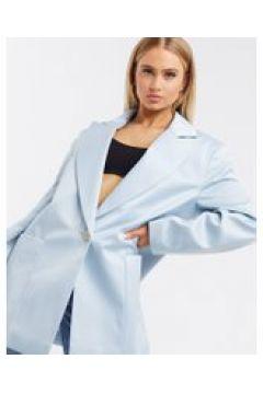 ASOS DESIGN Luxe - Cappotto con collo serafino oversize in raso azzurro-Beige(120387587)