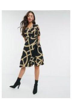 Just Female - Leyla - Vestito a portafoglio nero con motivo(122238651)