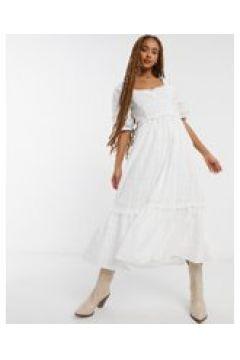 Emory Park - Vestito da giorno lungo in cotone a righine con scollo a cuore-Bianco(120541654)