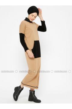 Black - Camel - Crew neck - Unlined -- Dresses - Zentoni(110323363)