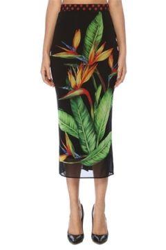 Dolce&Gabbana Kadın Siyah Tropikal Desenli Midi İpek Tüp Etek 38 IT(117772011)