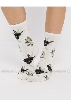 Green - Black - White - Multi - Cotton - Socks - Koton(110323621)