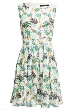 *Tenki White Leaf Print Skater Dress(93469954)