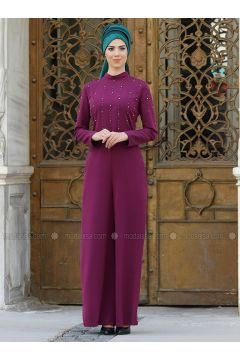 Plum - Fully Lined - Crepe - Jumpsuit - Nurkombin(110332848)