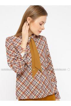 Yellow - Mustard - Plaid - Point Collar - Blouses - İVRİZ(110339197)