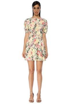 Faithfull The Brand Kadın Sidonie Pembe Çiçekli Karpuz Kol Mini Elbise L EU(119230002)
