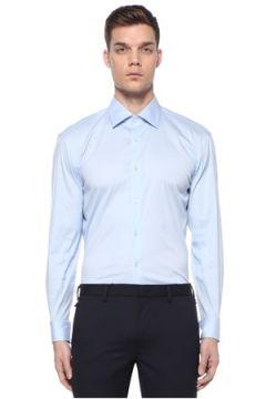Boss Erkek Slim Fit Mavi İngiliz Yaka Poplin Gömlek 44 IT(108972776)