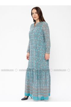 Turquoise - Multi - Crew neck - Fully Lined - Dresses - Le Mirage(110338934)