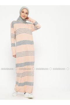 Gray - Powder - Stripe - Crew neck - Unlined - Wool Blend - Acrylic -- Dresses - Veteks Line(110320309)