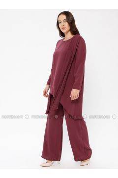Cherry - Unlined - Crew neck - Muslim Plus Size Evening Dress - Sevdem Abiye(110323340)