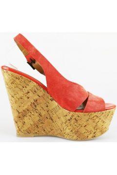 Sandales Jeannot talons compensés corallo daim AG433(88469529)