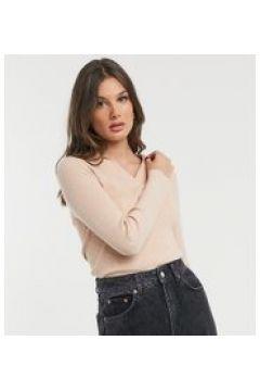 Fashion Union Tall - Maglione lavorato leggero con colletto-Rosa(121066745)