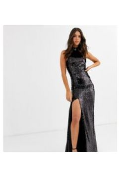 Club L London Tall - Trophy - Vestito lungo accollato nero con paillettes(120334567)