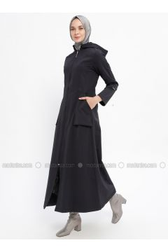 Navy Blue - Fully Lined - Crew neck - Acrylic - Trench Coat - Night Blue Collection(110331449)