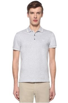 Zegna Erkek Slim Fit Gri Polo Yaka T-shirt 50 IT(108809877)