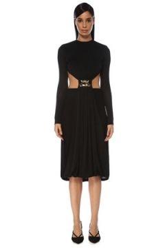 Dodo Bar Or Kadın Tina Siyah Dekolte Detaylı Uzun Kol Midi Elbise 40 IT(119423069)