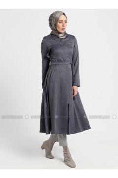 Gray - Unlined - Crew neck - Topcoat - Butik Neşe(110335628)