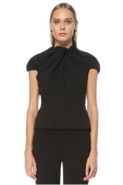 6Arlington Kadın Siyah Yakası Drapeli Abiye Bluz 8 US(123319628)