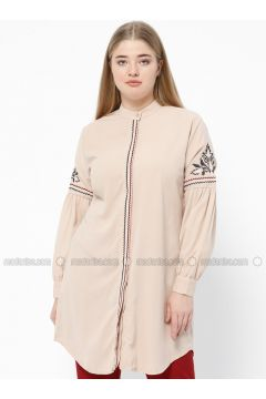 Beige - Crew neck - Plus Size Tunic - SUEM(110315215)