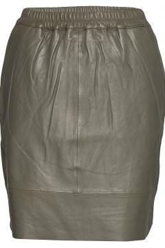 Leather Skirt W. Elastic In Waist Kurzes Kleid Grün COSTER COPENHAGEN(108573686)