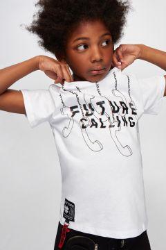 Nebbati B&G Beyaz Erkek Çocuk T-Shirt(114005893)