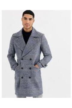 Gianni Feraud - Cappotto premium militare a quadri in misto lana oversize con rever a lancia-Blu(123202139)