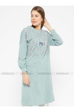 Cotton - Crew neck - Mint - Sweat-shirt - İkoll(110319943)