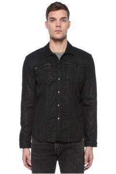 John Varvatos Star USA Erkek Siyah Polo Yaka Denim Dış Gömlek Lacivert M EU(108972720)